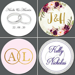 Wedding-Stickers-Personalised-Envelope-Seals-35-on-a-sheet-Over-30-designs