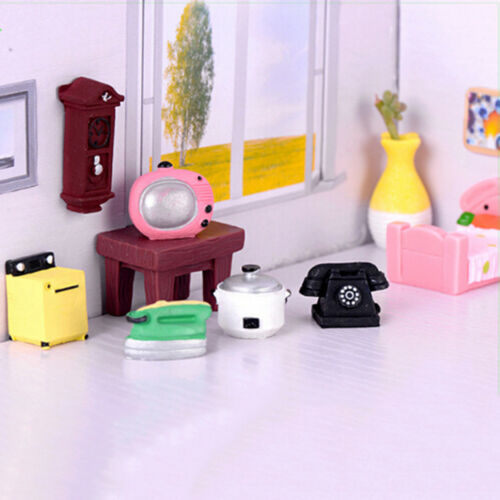 Doll house miniature furnitures and miniatures appliances living room home decor