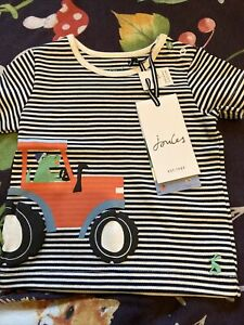 New Baby Boys Joules Blue Striped Tractor Tshirt, Age 3-6 Months