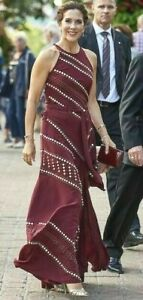 New-NWT-1-398-Tory-Burch-Embellished-Red-Agate-Runway-Long-Maxi-Gown-Dress-US-2
