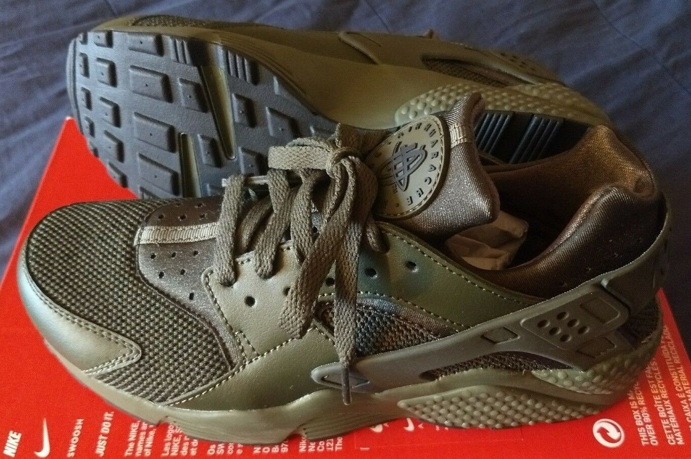 Nike size Air Huarache Cargo Khaki green black men's shoe size Nike 9 NEW 318429 308 42c1c2