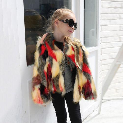 Fashion Toddler Kids Girl Winter Coat Fur Thick Jacket Soft Outwear Waistcoat UK