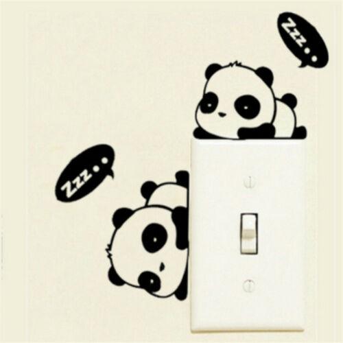 Cartoon Panda Light Switch Black  Decal Wall Laptop Sticker  JH