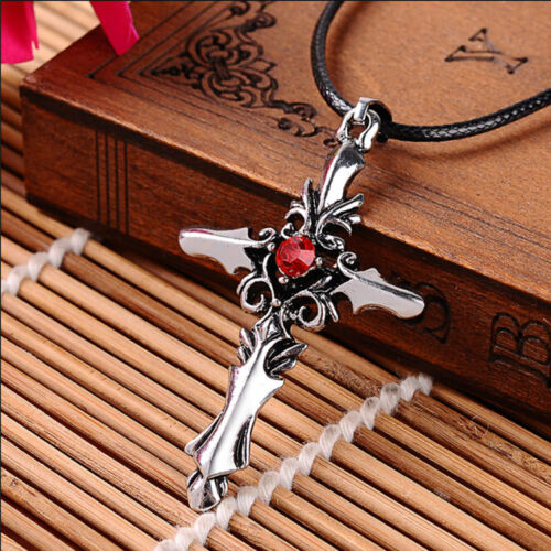 Edelstahl rot Kristall Kreuz Goth Unisex Tribal Herren Damen Anhänger Halskette