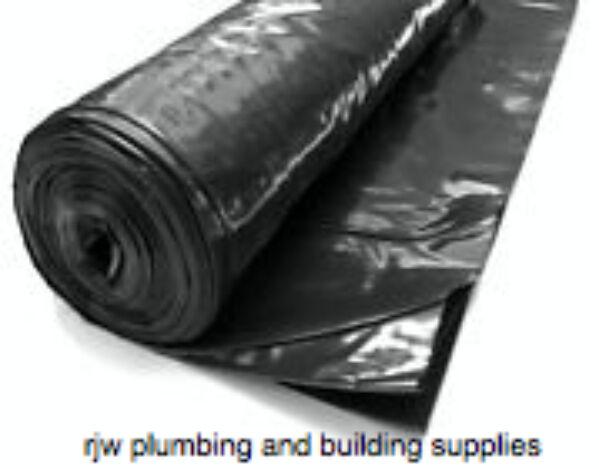 HEAVY DUTY BLACK POLYTHENE PLASTIC SHEETING 4M WIDE DPM ROLLS 300MU 1200 GAUGE