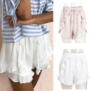 Sexy-Women-039-s-High-Waist-Ruffles-Shorts-Drawstring-Loose-Elastic-Beach-Shorts-A