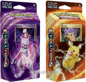 Mewtwo-amp-Pikachu-2-x-60-card-Pokemon-Theme-Deck-Set-XY-Evolutions-Holo-Playm
