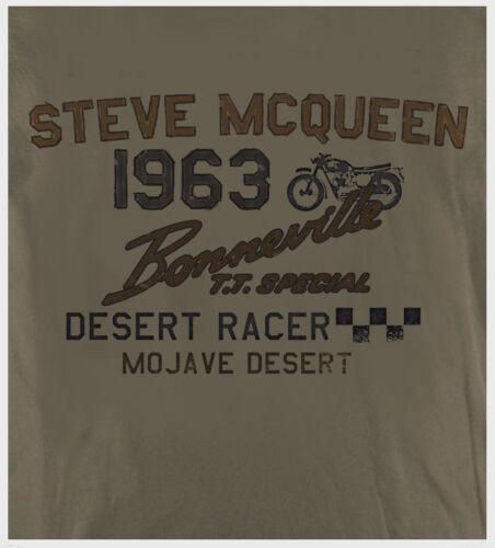 Steve Mcqueen Biker Motorrad Triumph Bonneville Retro Aufdruck Wachs T-Shirt