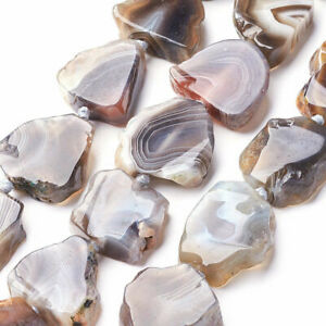 13pcs-Strd-Natural-Botswana-Agate-Stone-Beads-Freeform-Nugget-Semi-Gems-22-26mm