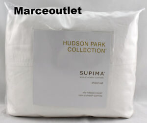 Hudson-Park-Supima-Cotton-Percale-Solid-470-Thread-Count-KING-Sheet-Set-White