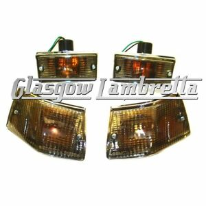 Set of 4 ORANGE Indicator Lenses Vespa PX T5 LML 2T