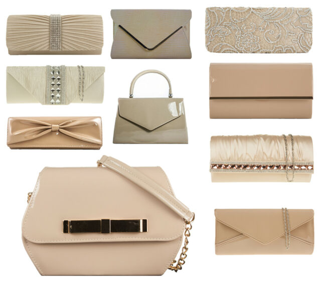 Nude  Patent Suede Faux PU Bridal Evening Party Wedding Holiday Clutch Handbags