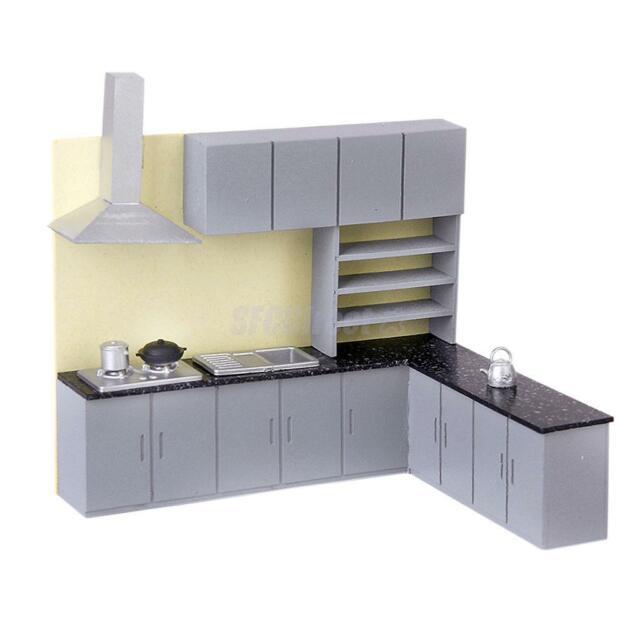 Dollhouse Art Modern Simulation Kitchen Cabinet Set Model Kit Furniture 1:25