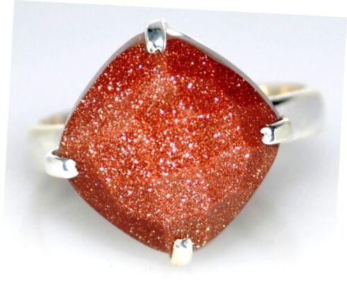 Gold grès Argent Sterling Bague Facette coupe pierre de soleil tailles 925 5 k à 12 y