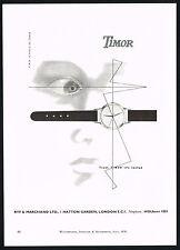 1950's Vintage Timor Watch Co Mid Century Modern Modernist Eye Face Art Print AD