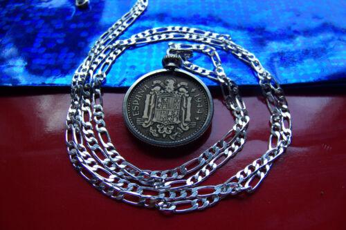 """Espagnole de 1944 Golden Brass un peseta Pendentif sur Argent Sterling 26/"""" Chaîne"""