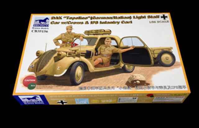 Bronco Models 35156 - DAK Topolino Light Staff Car with Crew & Infantry Cart