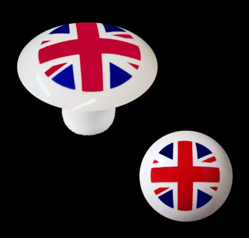 White Porcelain Cupboard Door Knobs Union Jack Flag Design Pack Of 5,10,20,50