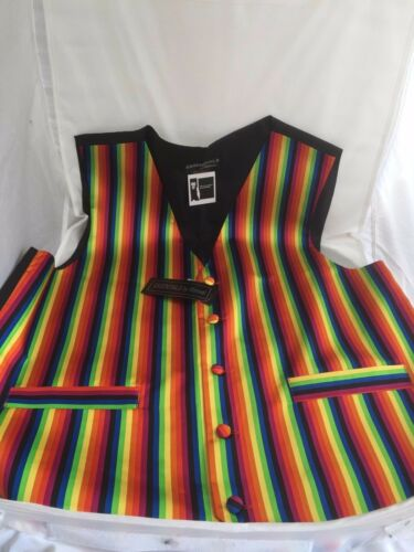 RAINBOW Mens//Women Silk Waistcoat-42-48-With OR Without Bow tie and Hankie-Multi
