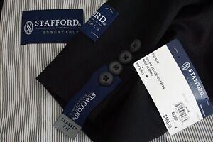 Stafford-Textured-Solid-Black-Essentials-Year-Round-Sport-Coat-Jacket-46R-NEW