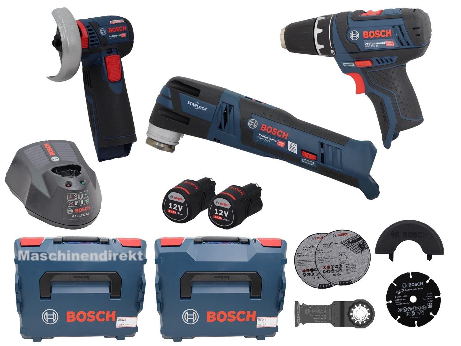 Bosch Akku Set Multi Cutter GOP 12V -28 + Bohrschrauber GSR 12V -15  + GWS12V-76