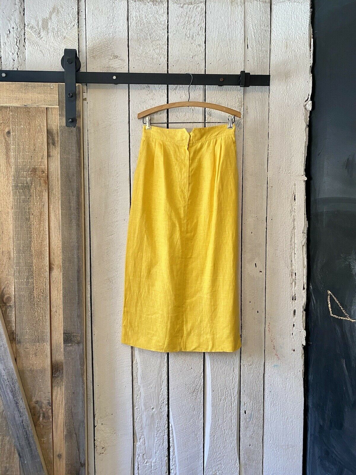 Vintage 80s Bright Solid Yellow Linen High Waisted Pencil Skirt Christian Dior M