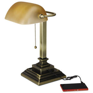 Alera-Traditional-Banker-039-s-Lamp-w-USB-16-034-High-Amber-Glass-Shade-w-Antique