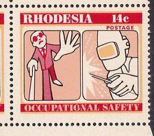RHODESIA: 1975: sicurezza nel lavoro, Cyl 1B blocchi di 4 con rotto 'on' DIFETTO.