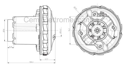 Motore aspirapolvere 1350 W Domel 467.3.403-3 per GHIBLI POWER T D 50 P EL