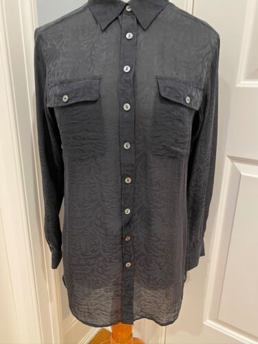 SOFT SURROUNDINGS SILK BUTTON DOWN TUNIC BLOUSE TO