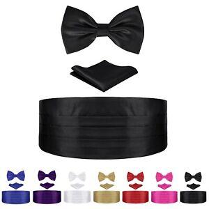 Mens-Cummerbund-Bow-Tie-Pocket-Square-Hanky-Satin-Tuxedo-Set-Formal-Wedding-Prom