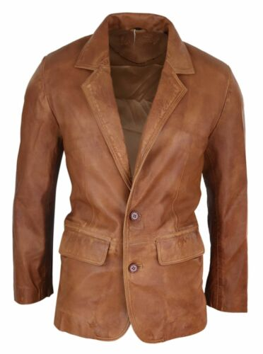 Mens Regular Fit Classic Real Leather 2 Button Tan Brown Blazer Jacket Vintage