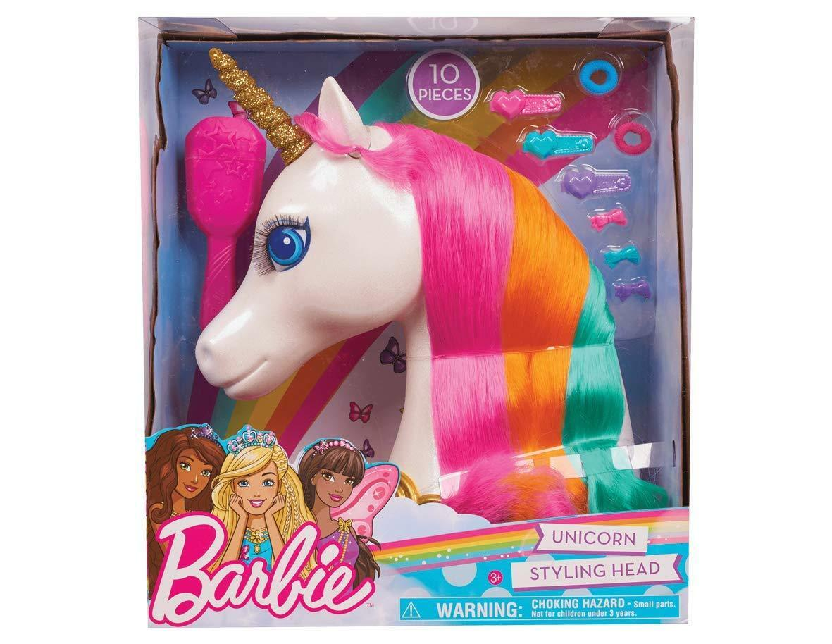 Oficial Barbie Dreamtopia Unicornio Styling Cabeza 10 Piezas Playset de Juguete