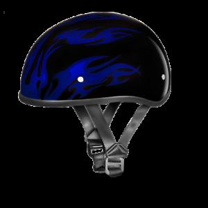 Dot Daytona Skull Cap w//Blue Flames