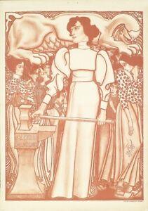 Original-Poster-J-Toorope-Arbeid-voor-de-VROUW-SYMBOLISME-Feminisme-1898