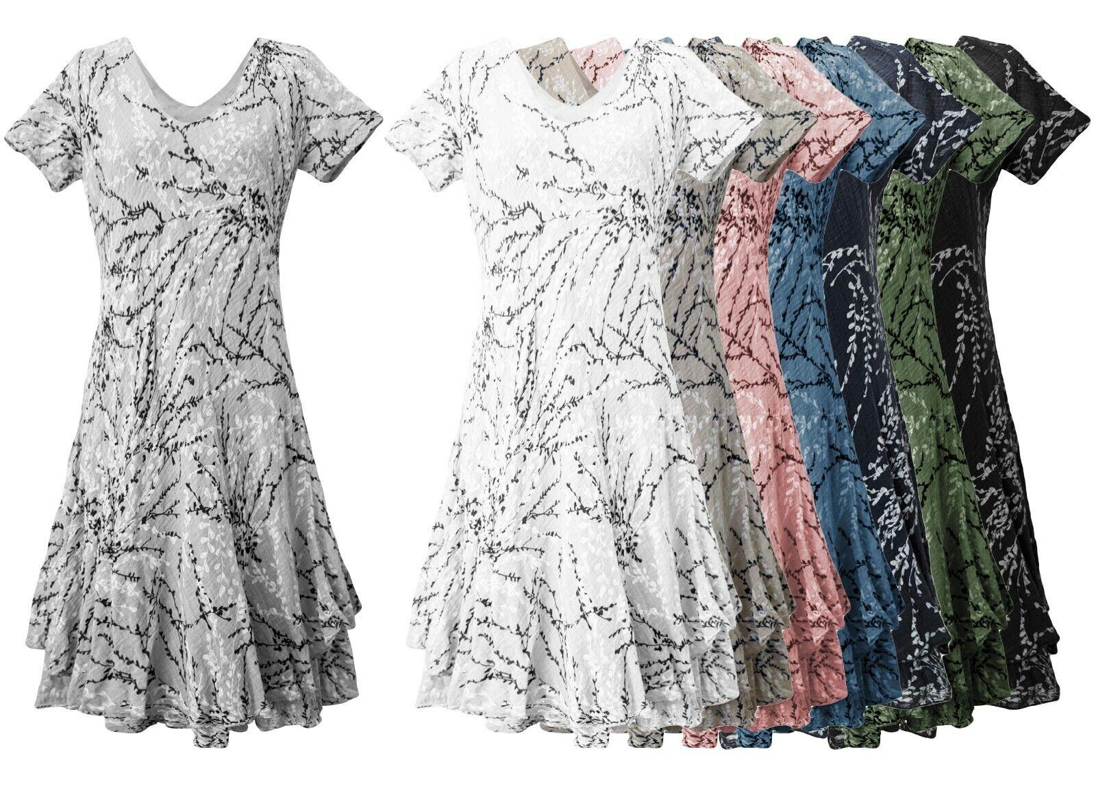 Sommerkleid Baumwolle / Viskose A-Linie klassisches Damenkleid Trägerkleid 36-40