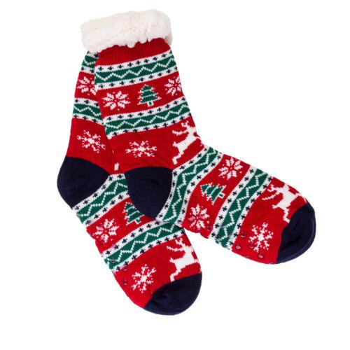 Damen Weihnachten Flauschig Warme Hausschuhe Pelzfutter Winter Anti Rutsch Socks