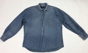 Mastal-ferretti-camicia-jeans-uomo-usato-XL-uomo-casual-lunga-blu-denim-T3534