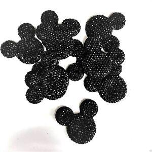 x10 Dark Royal Blue Sparkle Glitter Mouse Ears Charms Dummy Clips