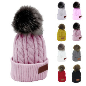 784f1b303b6 Girls Winter Beanie Hat Pom Pom Ball Children Knitted Hats Worm Kids ...