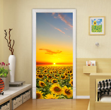 3D Self-Adhesive Rose Field Sunrise Farm Bedroom Door Stickers Wall Murals Decor