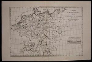1780 Original Bonne Map of Germany Empire Czech Poland