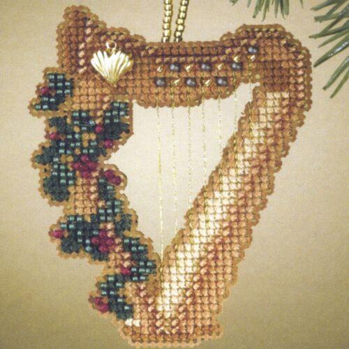 Harp Beaded Christmas Ornament Kit Mill Hill 2007 Holiday Harmony