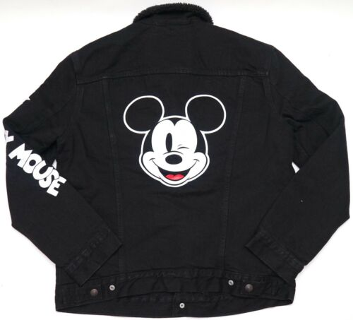 New Levi/'s x Disney Mickey Mouse Black Denim Sherpa Lined Trucker Jacket M-XL