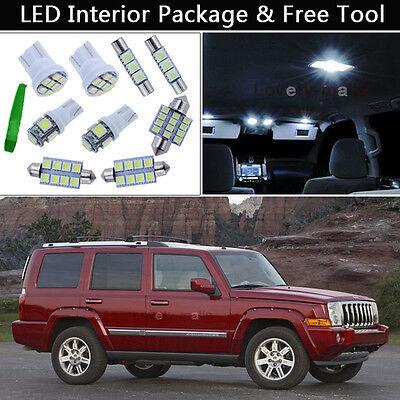12PCS White LED Interior Lights Package kit Fit 2005-2010 Jeep Grand Cherokee J1