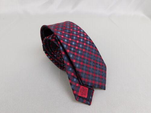 Alfani Printed Slim Tie /& Tie Clip Set Red//Grey Plaid  #1837