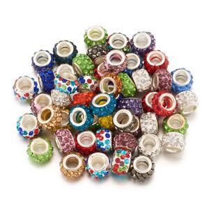 100x Handmade Lampwork European Beads European Large Hole Brass Cores Beads DIY