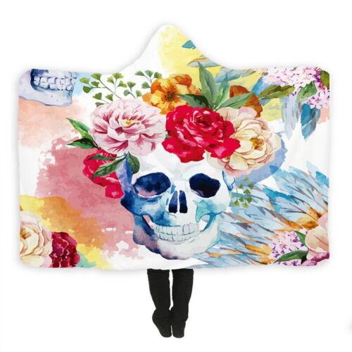 3D Print Skull Hooded Blanket Cloak Cape Winter Soft Wearable Cozy Throw Blanket