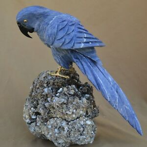 Perroquet En Sodalite Sur Socle De Mica Sculpture En Pierre 370x290mm 11kg Md8q0uvh-07234653-309399201