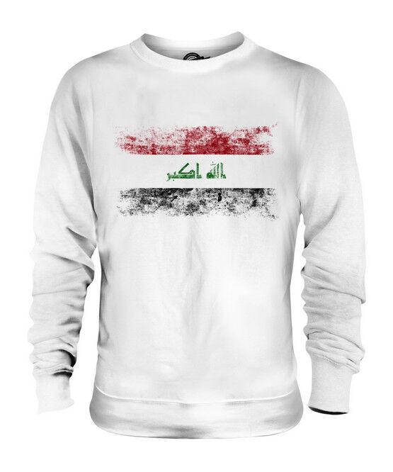 IRAQ DISTRESSED FLAG UNISEX SWEATER TOP AL-'IRAQ IRAQI IRAQ SHIRT FOOTBALL
